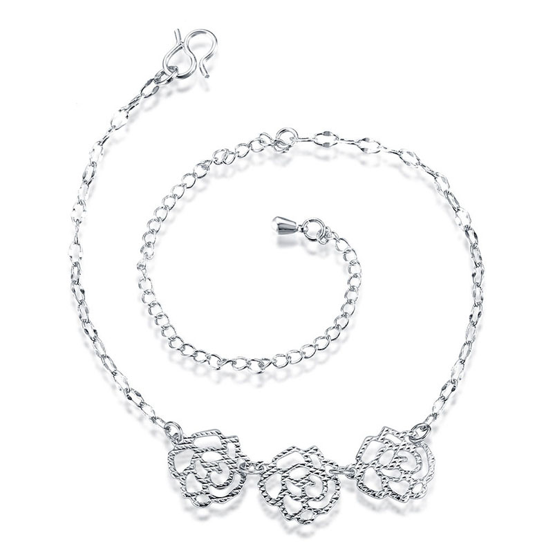 Hollow Out Flower Anklet Leg Bracelets For Women Silver Plated Foot Chain Jewelry