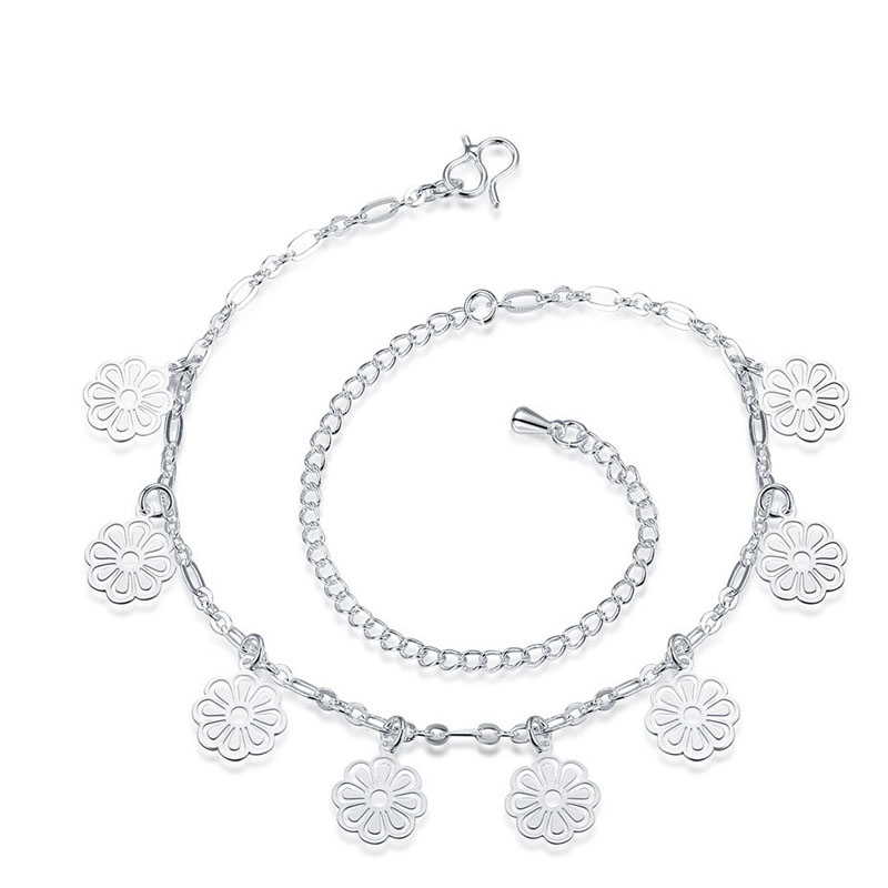 Silver Gold Plated Flower Anklet Bracelets For Women Leg Bracelets Foot