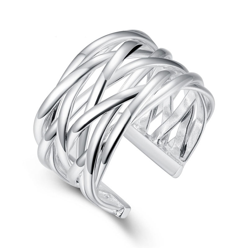 Open Braided Wide Silver Plated Jewelry Ring For Women Silver Rings R022
