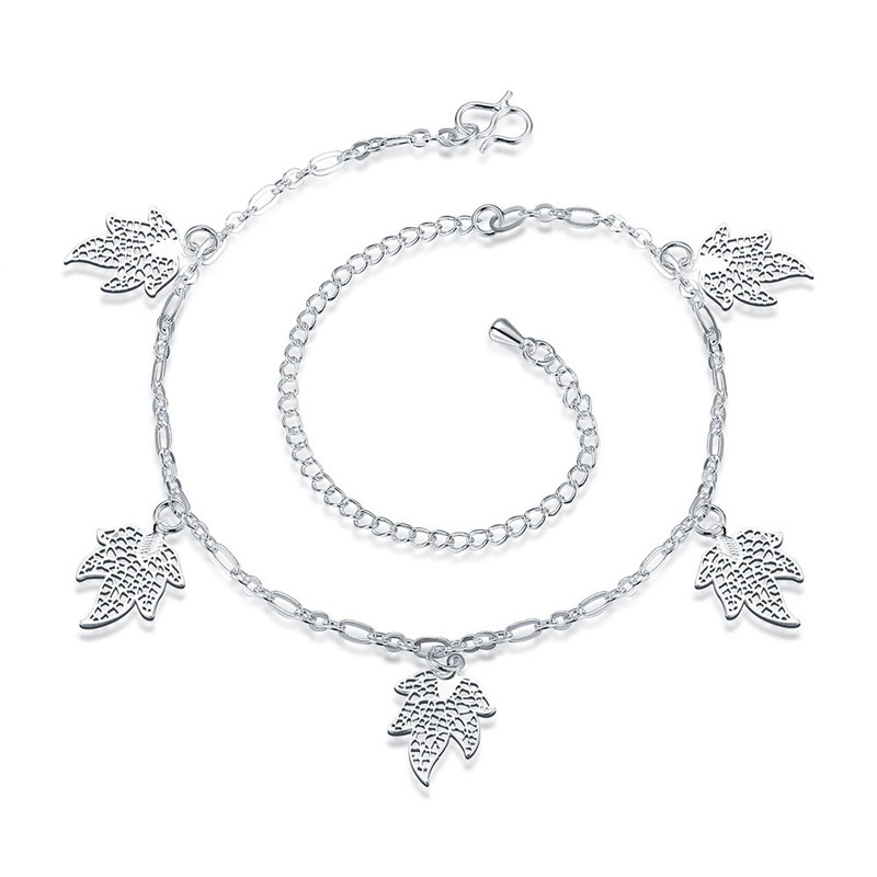 Multi Leaves Nice Sexy Silver Plated Chain Anklet Bracelet Foot Jewellery for Women