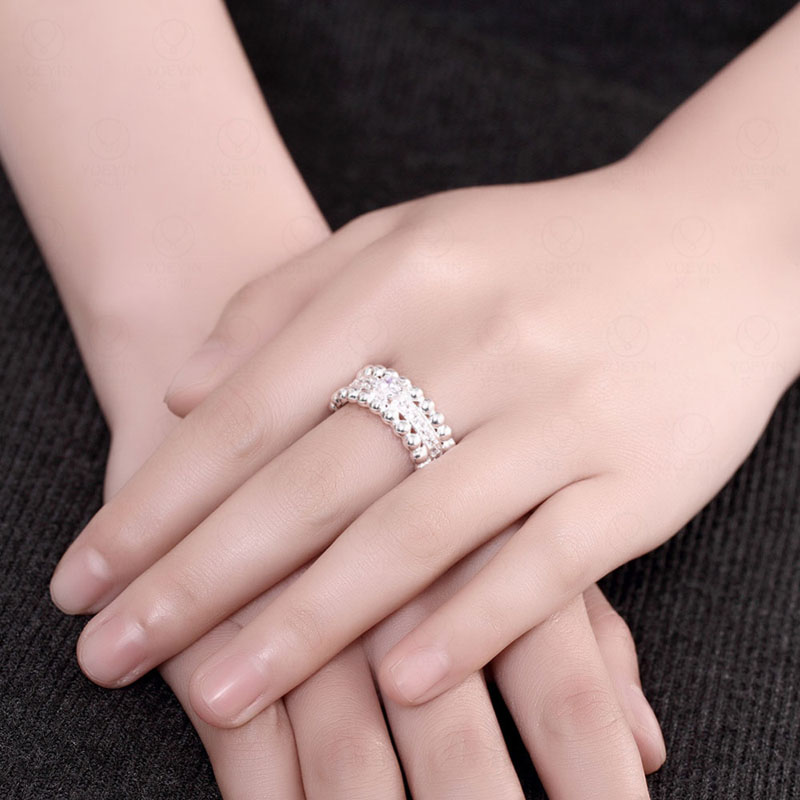 Micro Pave AAA+ Zircon Rings Silver Plated Women Wedding Rings