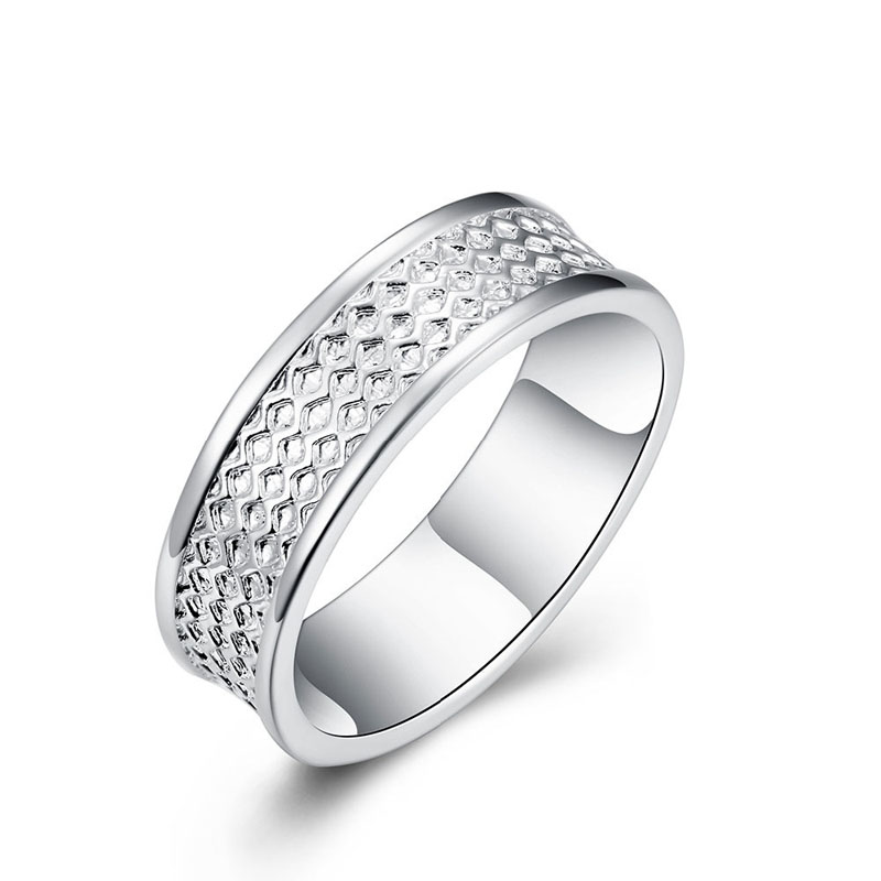 Silver Plated Wave Shape Male Money Ring R170