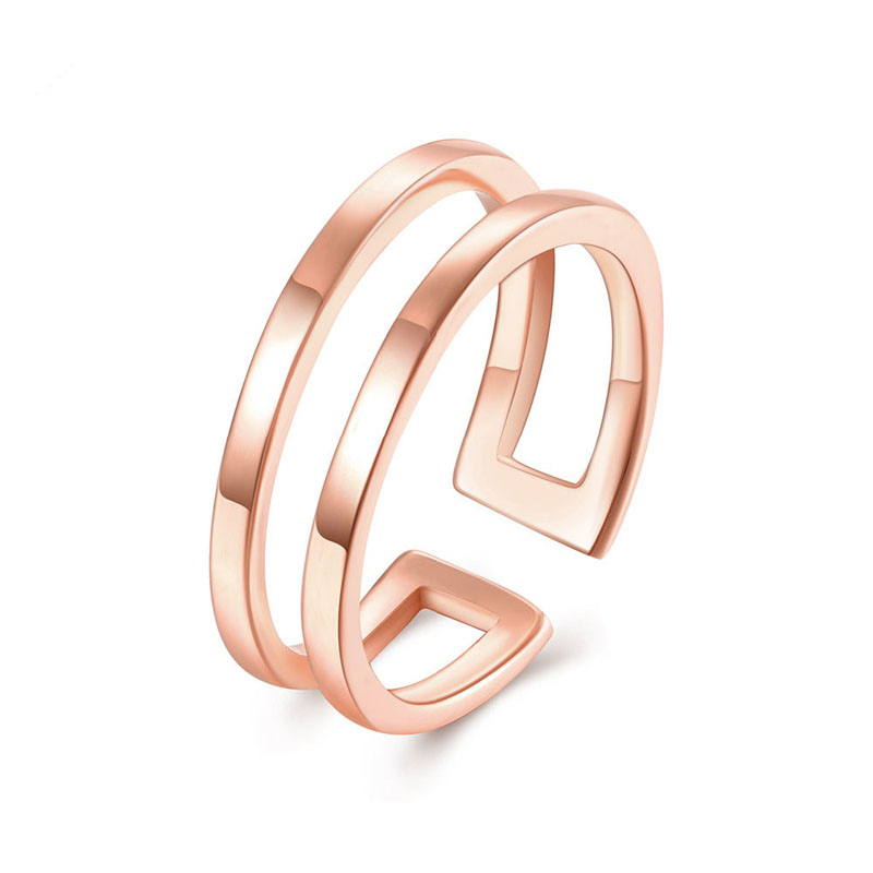 Gold Plated Smooth Adjust Rings For Women Antiallergic Ring AKR126