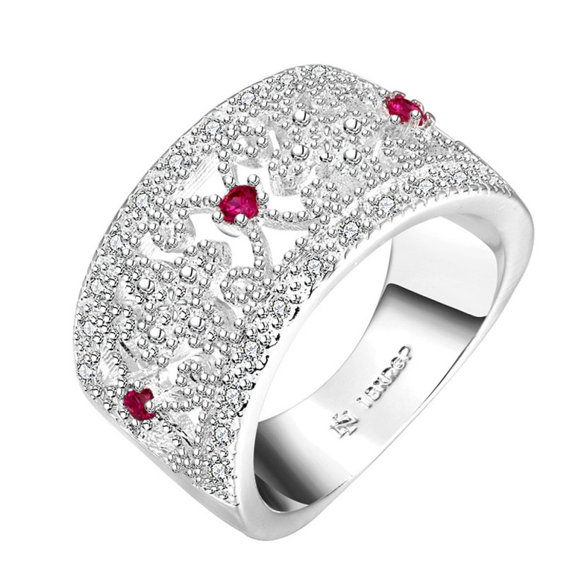 Silver plated Fashion Jewelry Inlaid Zircom Flower Austria Crystal Ring