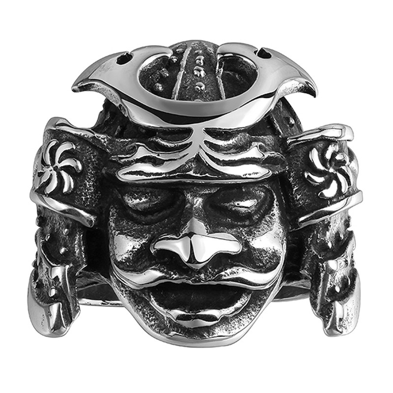 Rock Design Tribe 316L Stainless Steel Men Apache Indian Chief Head Ring Punk Figure Jewelry for Men