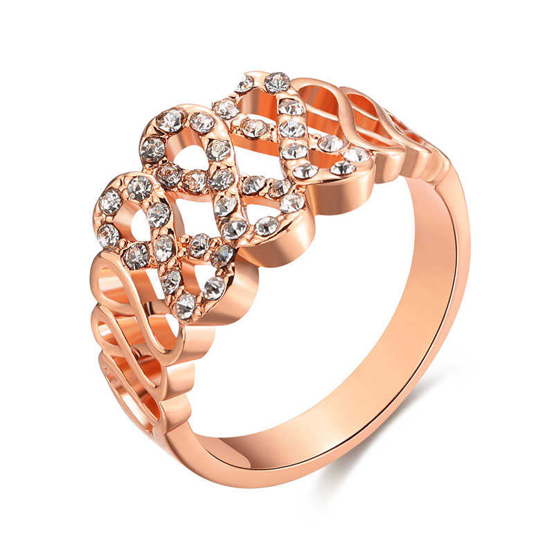 Inlaid Crystal Jewelry Plating Rose Gold with Crystal Ring Carving Letters Women Beauty Ring