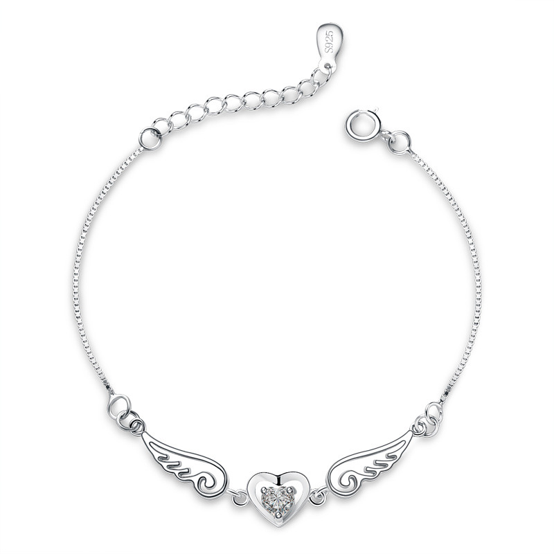 Diamond Inlay Solid 925 Sterling Silver Women Braclet