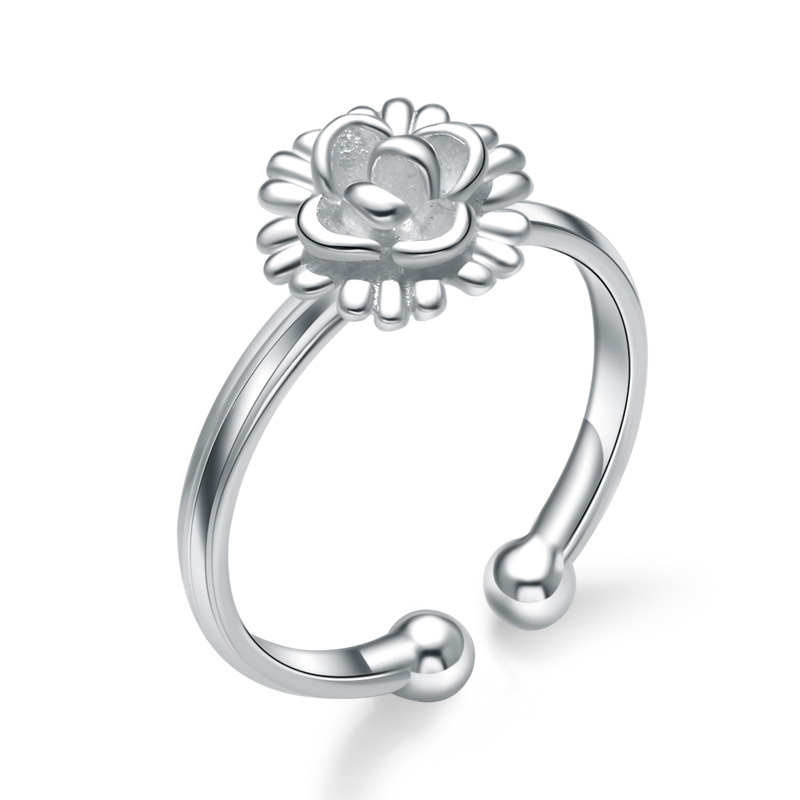 925 Sterling Silver Chrysanthemum Adjustable Round Jewelry Ring for Women
