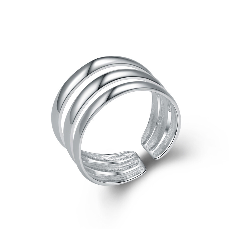 Geometric Hollowing Free Size Adjustable 925 Sterling Silver Ring for Women