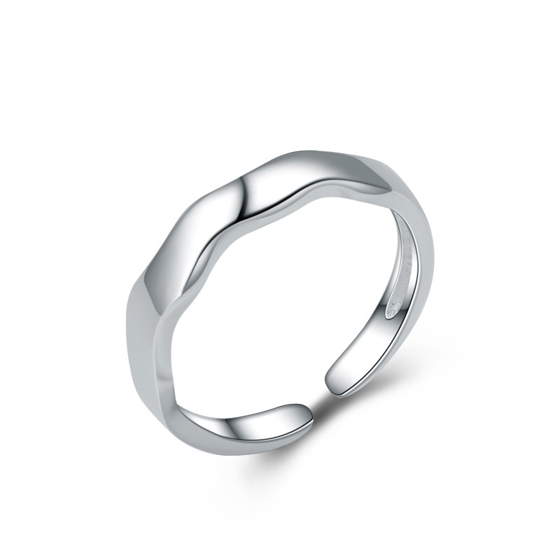 Wavy Shape Simple Style 925 Sterling Silver Adjustable Ring for Women