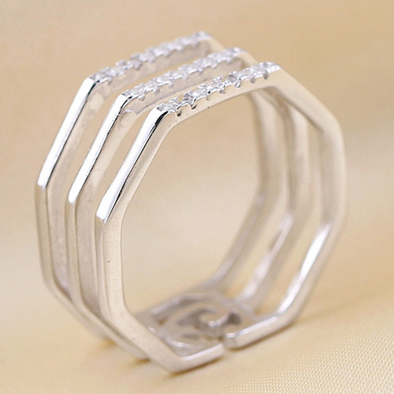 Diamond-shaped Bar Hollow 925 Sterling Silver Adjustable Ring for Women