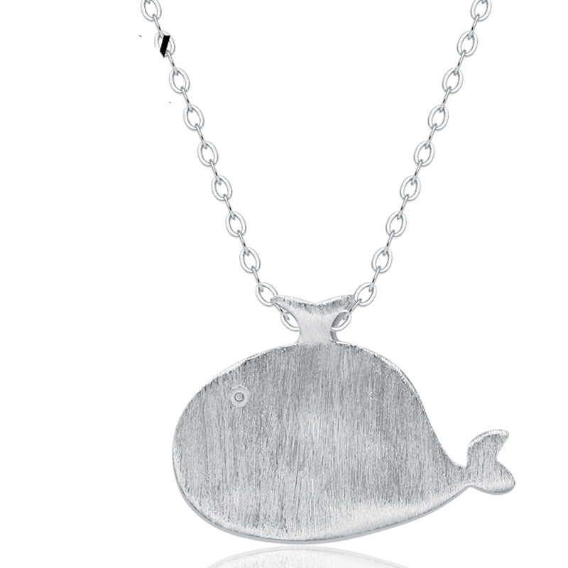 Dolphin Drawing Pendant 925 Sterling Silver for Women