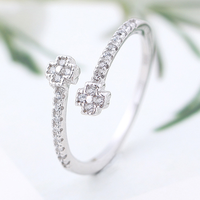 Korean Style Diamond 925 Sterling Silver Round Adjustable Ring for Women