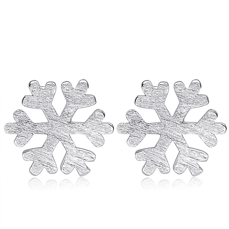 Simple Jewelry 925 Sterling Silver Snow Stud Earrings for Women
