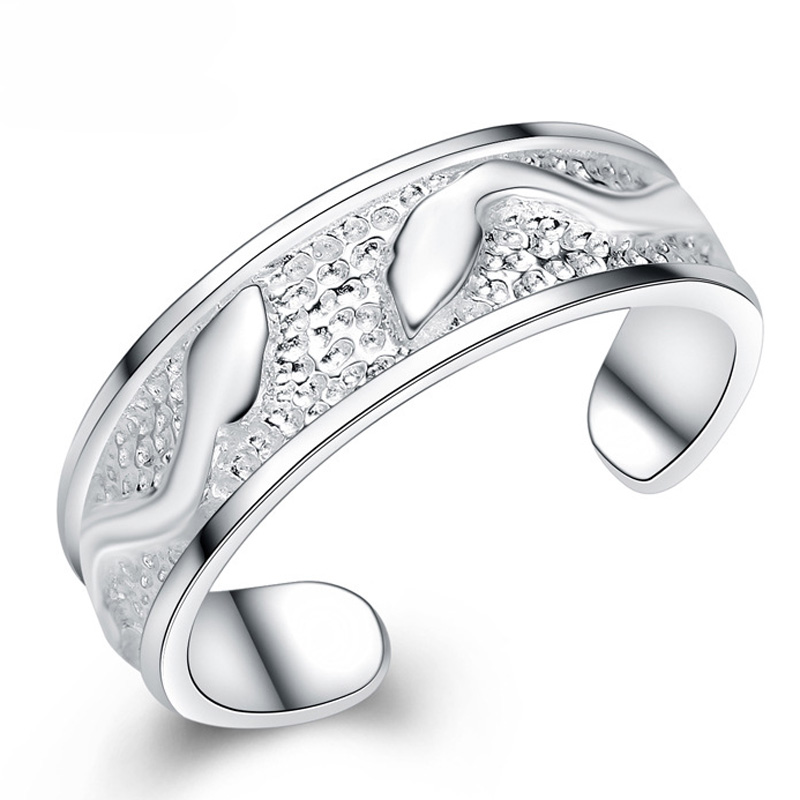 Fashion Leaf Pattern Adjustable 925 Sterling Silver Round Jewelry Ring for Women