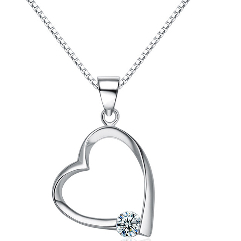 Elegant 925 Sterling Silver Heart Shaped Pendant for Women