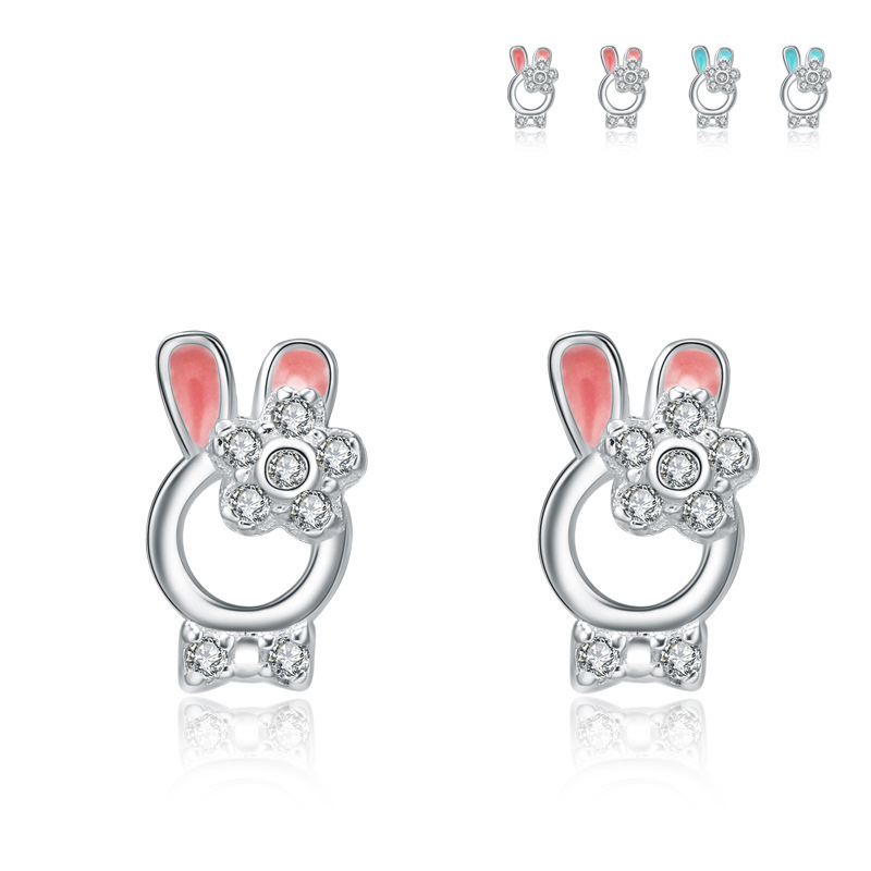 Rabbit Ears Diamond  925 Sterling Silver Earrings for Women