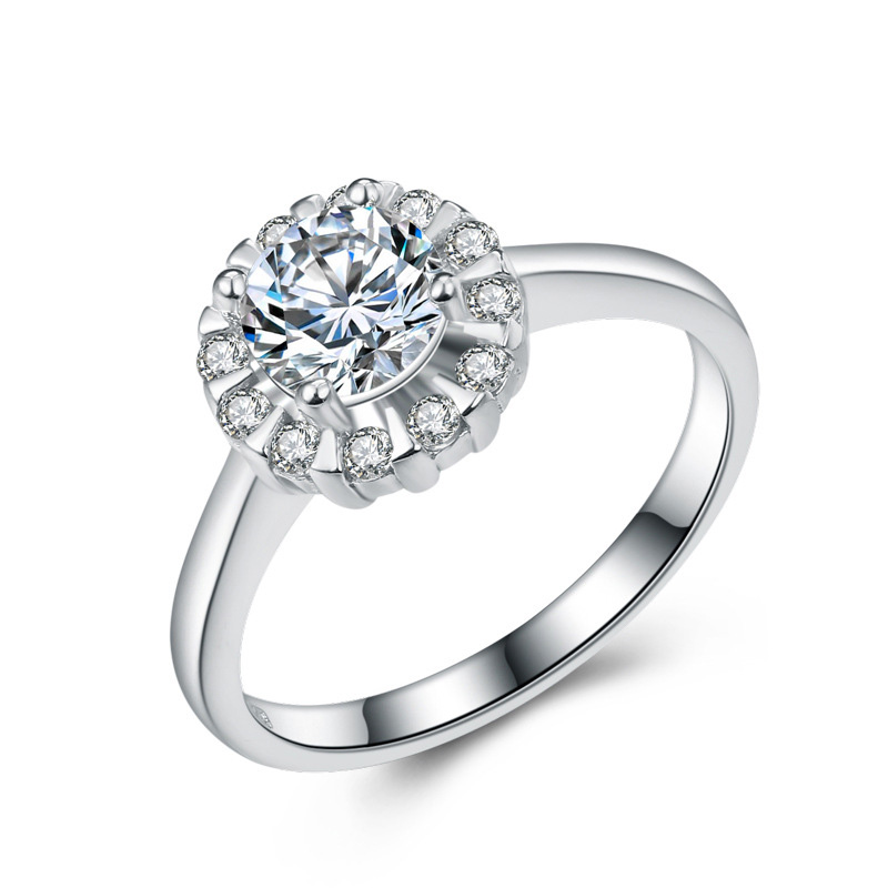 Elegant Diamond 925 Sterling Silver Round Jewelry Ring for Women