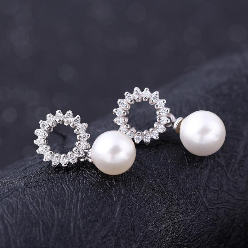 Bead Diamond 925 Sterling Silver Earrings for Women