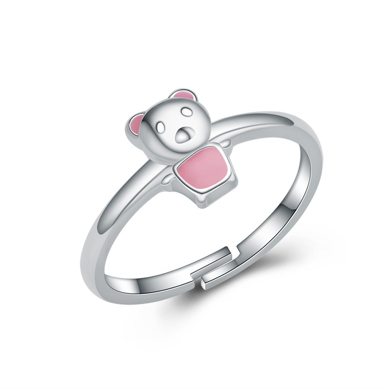 Pink Bear 925 Sterling Silver Ring Fashion Diamond Jewelry Ring for Women