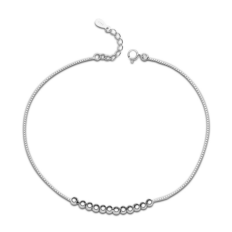 Twelve Little Bead 925 Sterling Silver Anklets for Women