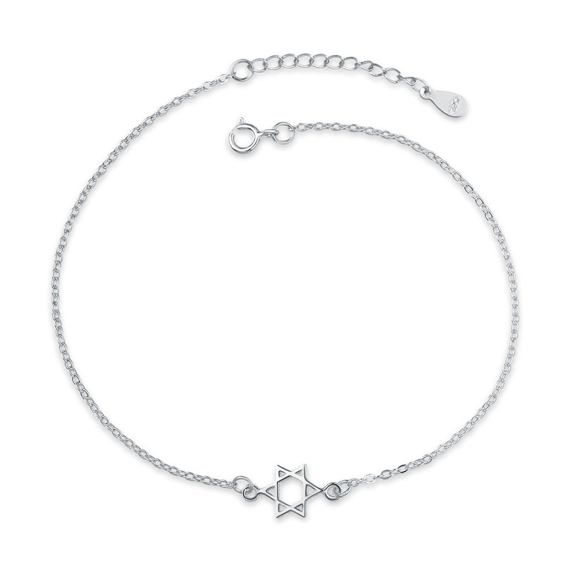 Fashion Hexagram Star 925 Sterling Silver Anklets for Girl