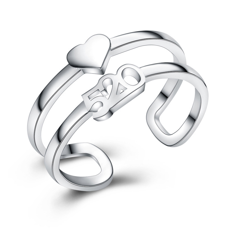 Creative Number 520 Round 925 Sterling Silver Ring For Girl