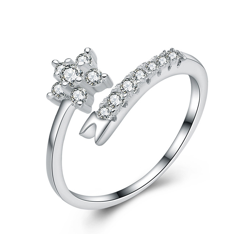 Flower Diamond Round 925 Sterling Silver Ring For Women