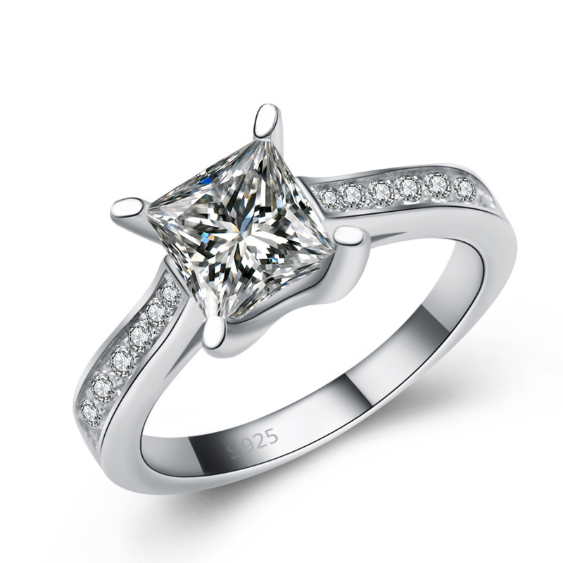 Square Diamond 925 Sterling Silver Ring for Women