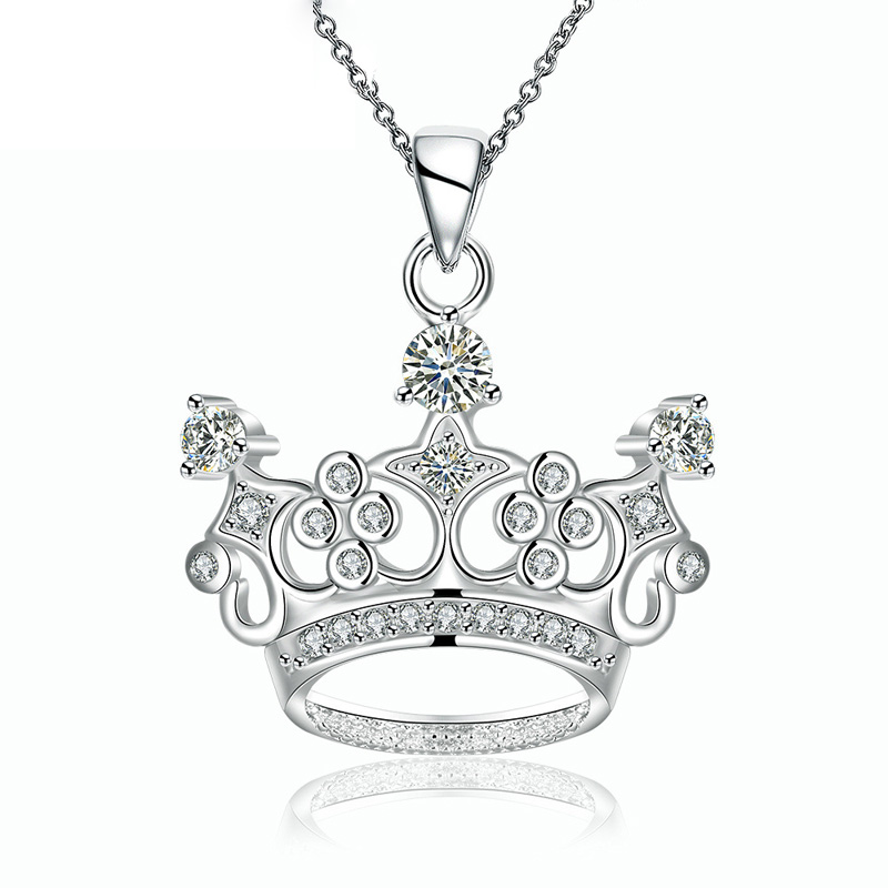 925 Sterling Silver Royal Crown Pendant for Girl