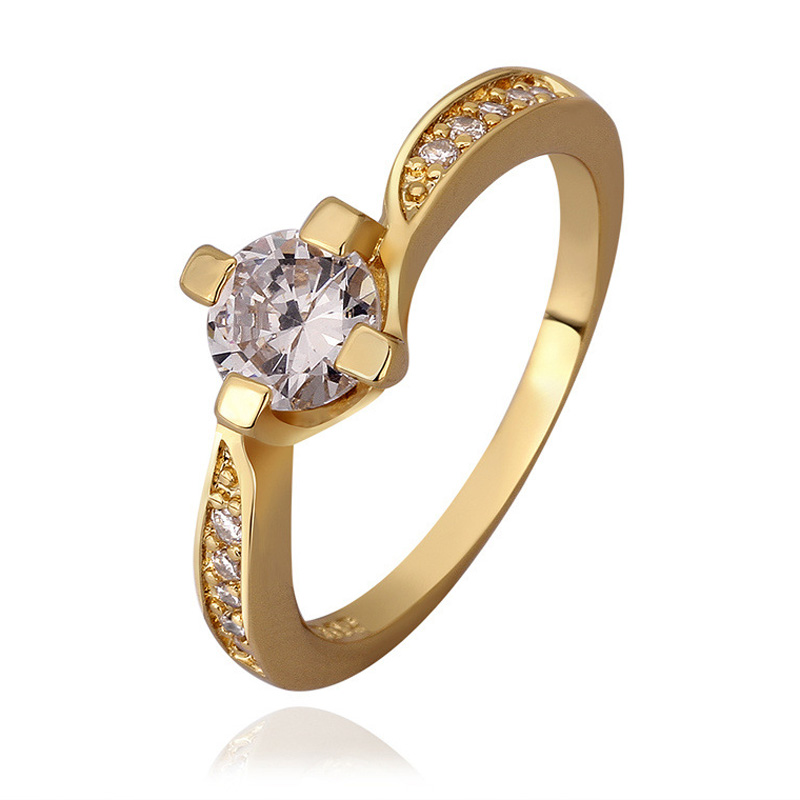 New Fashion Diamond Inlay Gold Plated Rings for Women