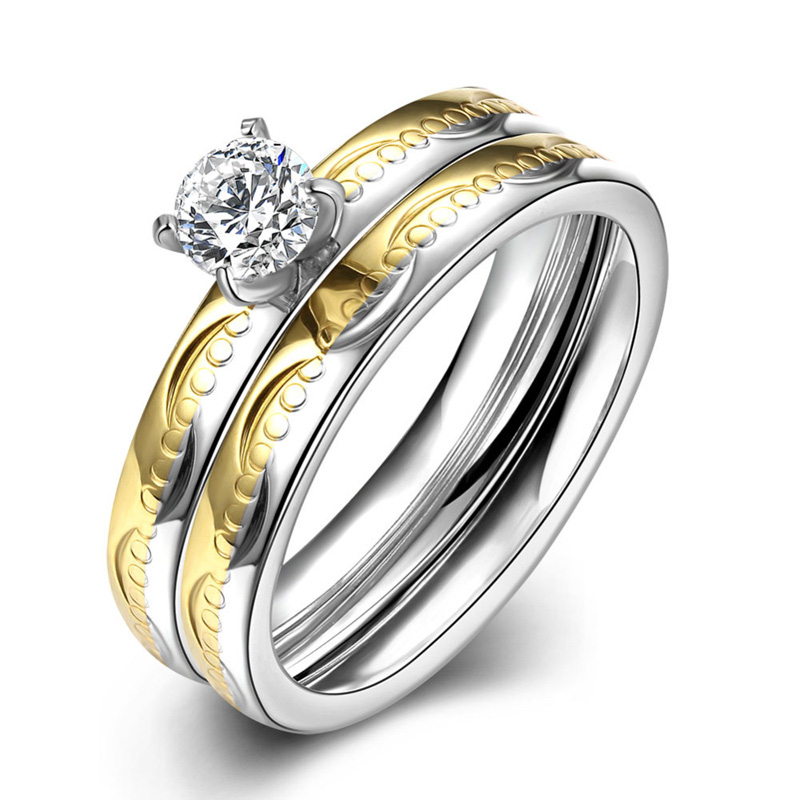 Hot Sale Yellow Gold Plated Diamond Ring for Women