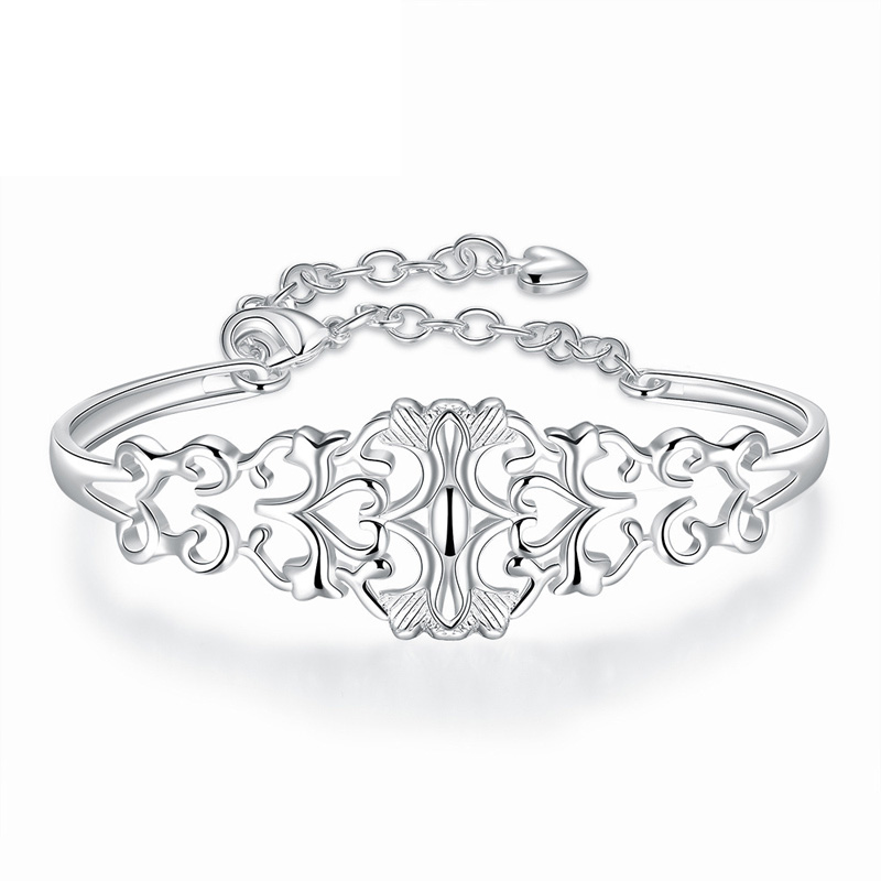 Magnetic Bracelet Women Fashion New Style Silver Plated Hollow Pattern Flower Bracelet