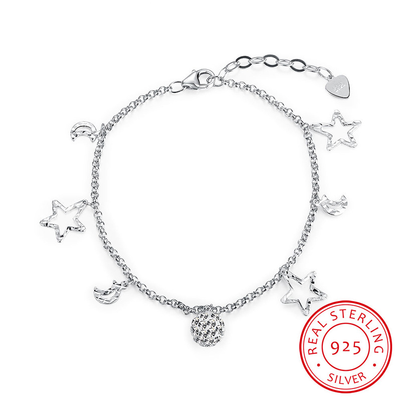 925 Sterling Silver Bracelet Moon & Star Fashion Bracelets for Girls Christmas Gifts