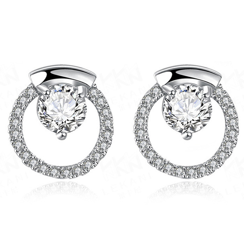 High Quality Rose Gold Plated With Zircon Round Earring for Women