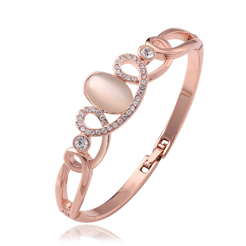 Cat's Eye Stone Braclet Rose Gold Plated Diamond Braclet for Women