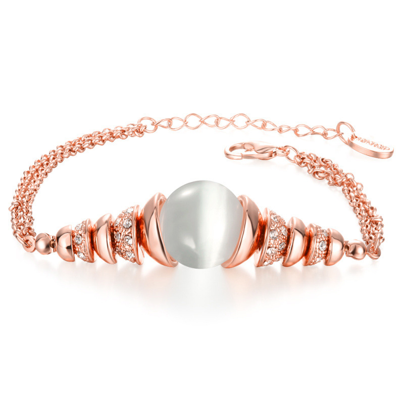 Europe Style Cat's Eye Stone with Rose Gold plated Diamond Inlay Braclet for Women