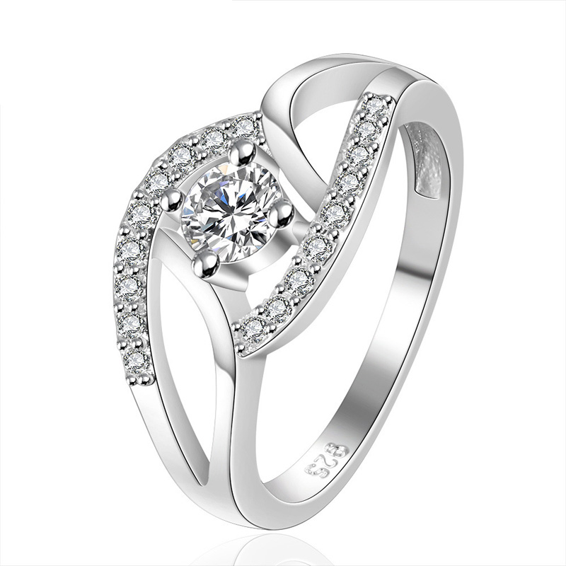 Classic Hot Sale Silver Plated Shining Crystal Party Ring for Women