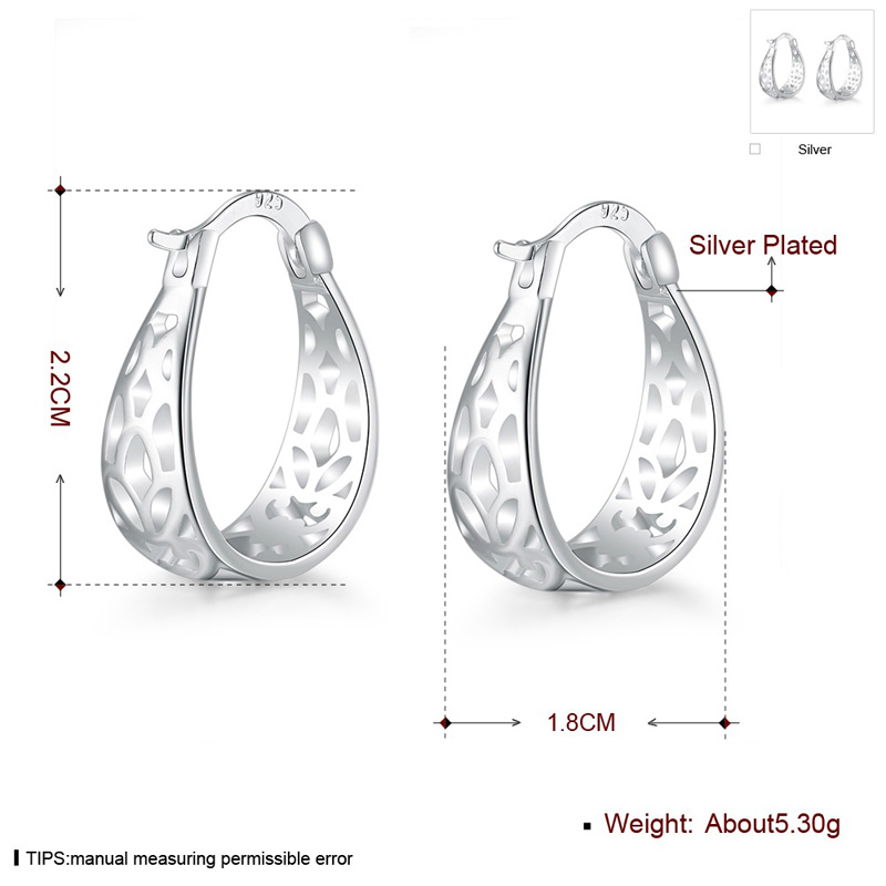 Hot Sale Hollow Out Big Round Silver Plated Stud Earrings Jewelry for Women Girls Party Wedding