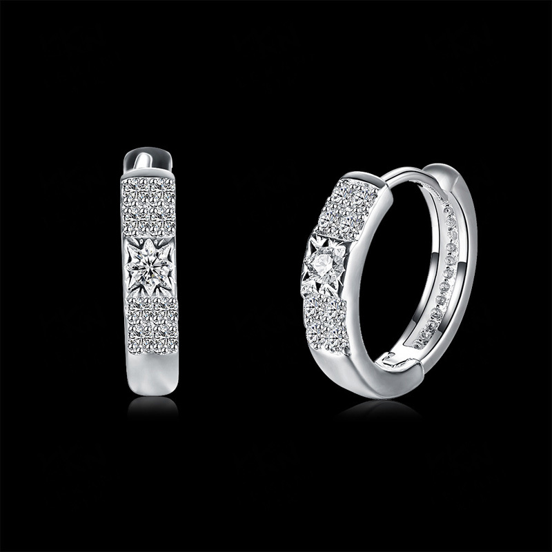 925 Sterling Silver Plated Glittering Zircon Clip Earrings for Women Lady Party Gifts