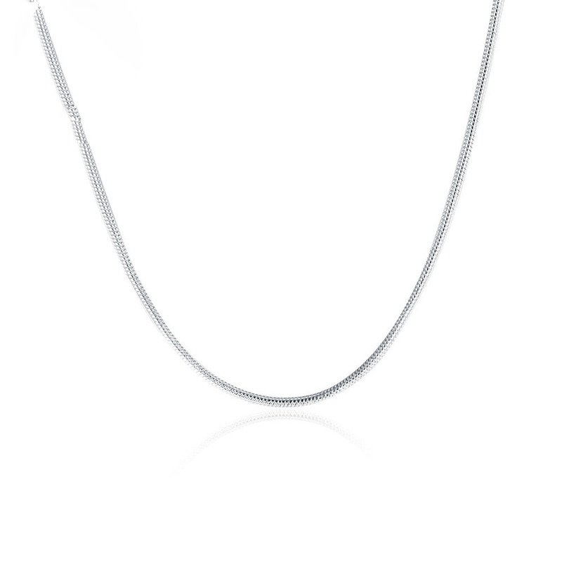 High Quality New Fashion Jewelry Silver Plated Solid Snake Chain Necklace for Women