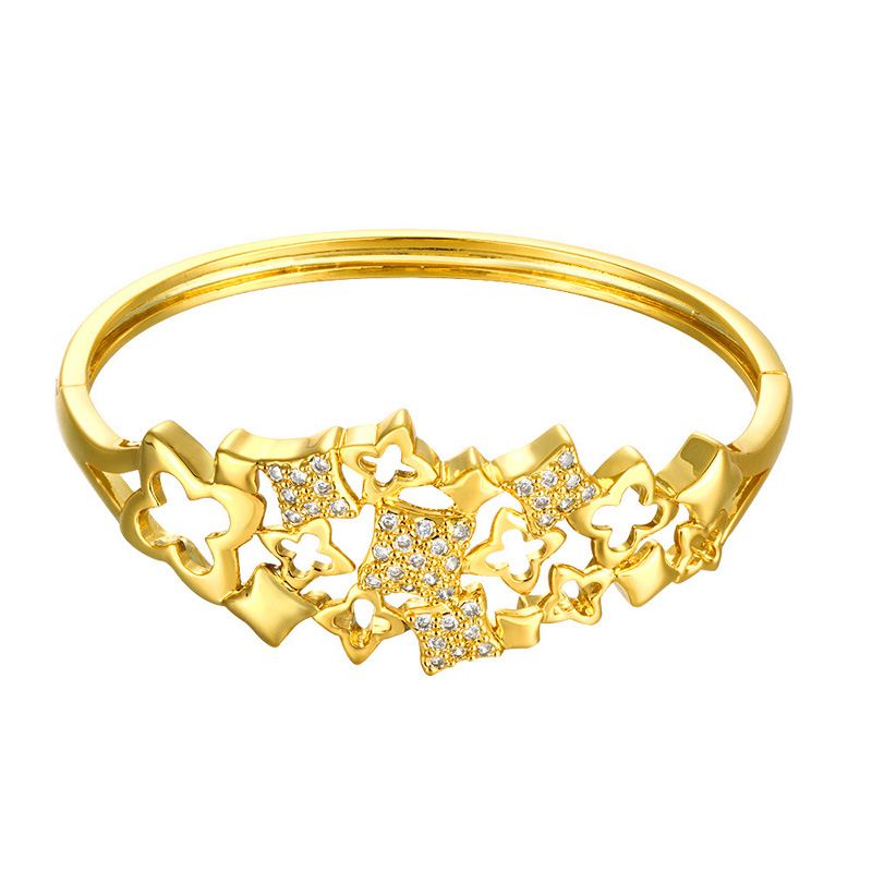 Popular Stylish Gold Plated Bangle Personalized Hollow Decorative Pattern Zircon Circle Braclet for Women