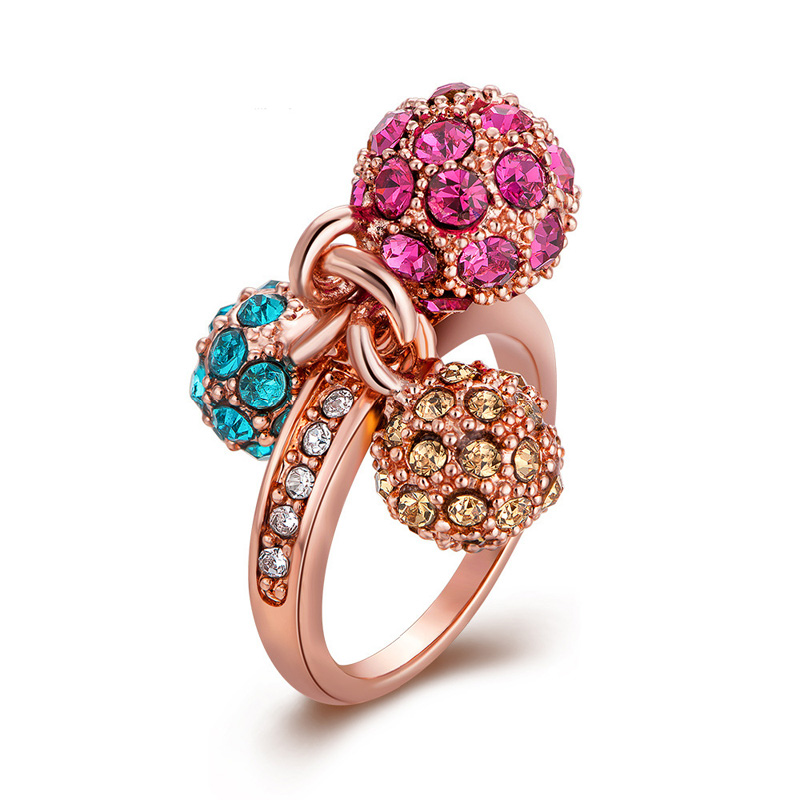New Fashion Rose Gold Plated Multicolors Three Ball With Full Crystals Rhinestone Wedding Rings For Women