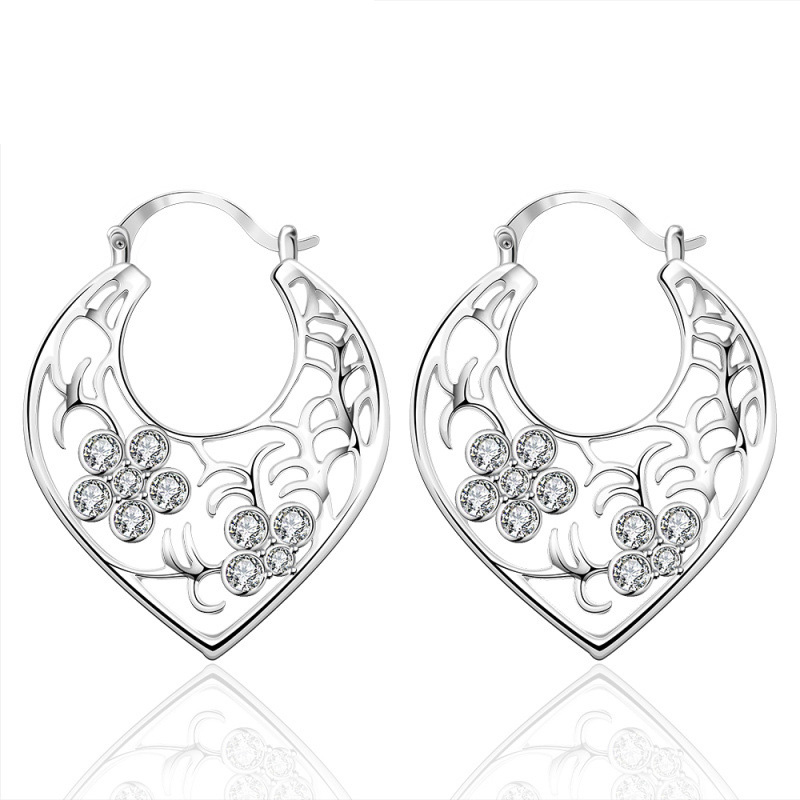 Plant Flower Stud Earrings Romantic 925 Sterling Silver & Zirconia Gift Accessories For Girls