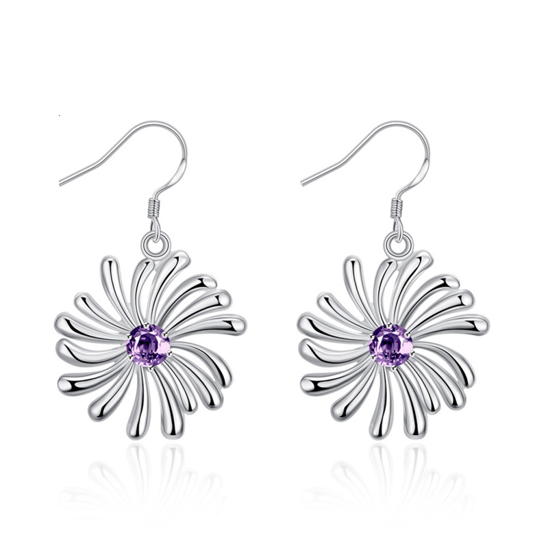 Drop Earrings Inlaid Stones New Fashion Wedding Jewelry Popular Earrings Silver Plated Earrings for Women E741
