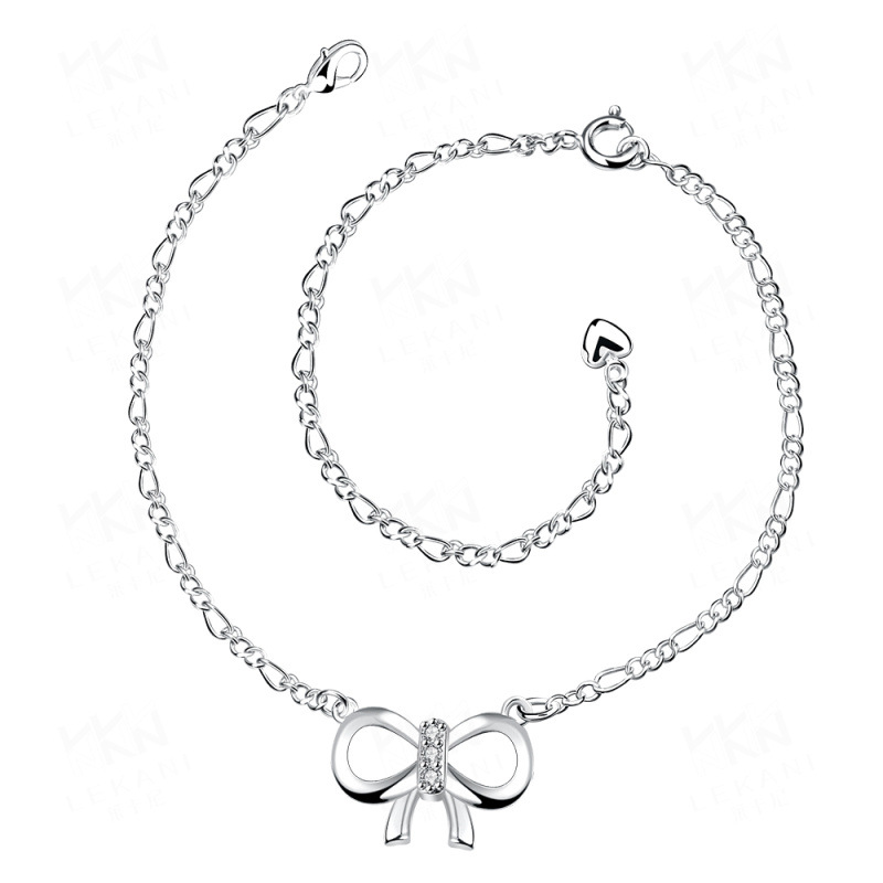 Fashion Silver Plated Austrian Crystal Bow Anklets For Women Girls Ankle Bracelets Foot Chain Jewelry