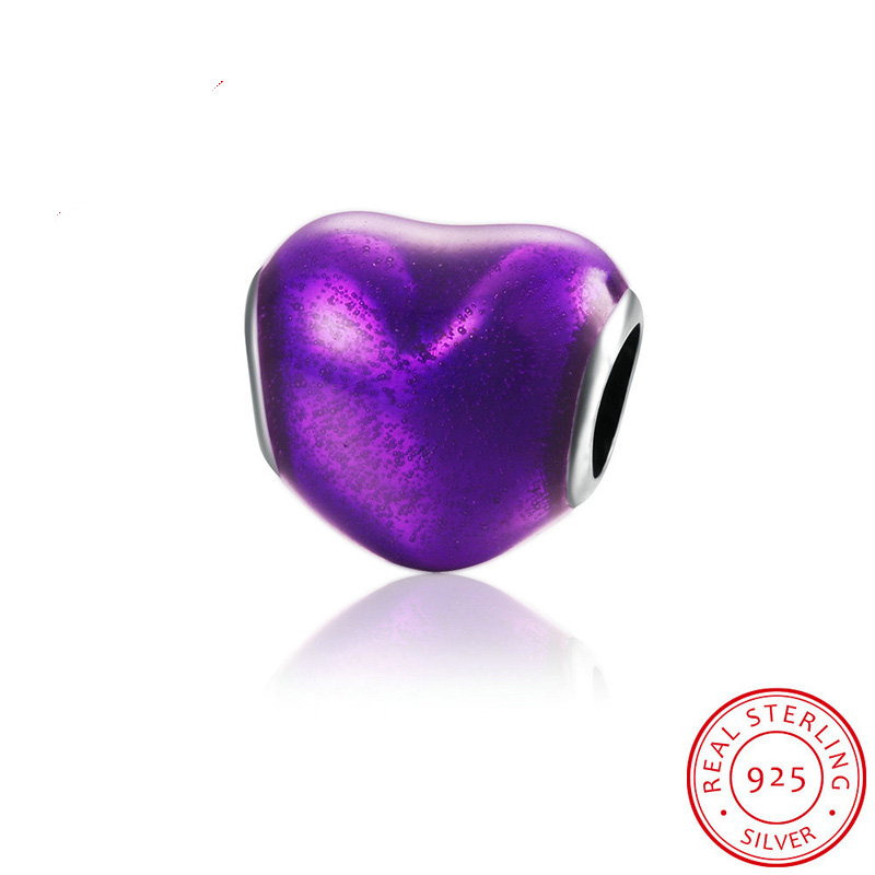 Fits For European Pandora Bracelets Purple Heart Shape Thread Charm Beads Authentic 925 Silver Beads for Jewelry Making
