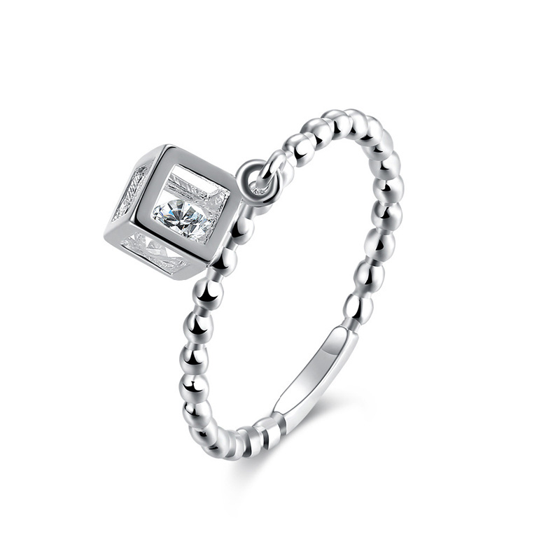 Chain Ring Sliver Plated and Crystral Zircon With Square Shape Women's Rings Ladies and Girls Finger Jewelry For Female Love