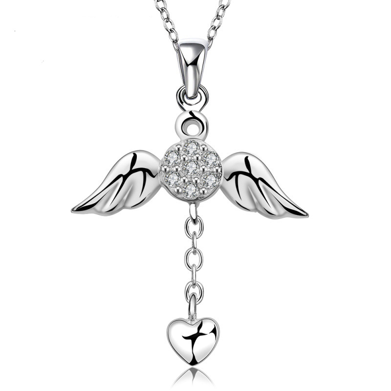 Heart Fresh Design Lovely Pendant Necklace 925 Sterling Silver Wing Necklace for Girls