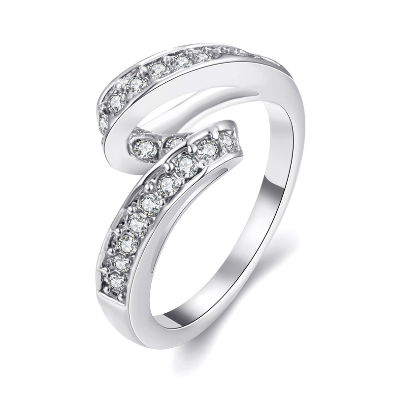 Luxury 925 Sterling Silver Women Diamond Ring Jewelry Rose Gold Filled Wedding Rings